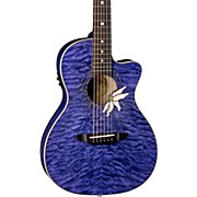 Luna Guitars Flora Passion Flower Quilt Maple Parlor Acoustic-Electric Guitar