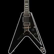 Gibson Custom Flying V Custom - Solid Body Electric Guitar Ebony 5-ply Black Pickguard