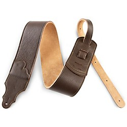 "Franklin Strap 3"" Chocolate Leather Guitar Strap with Gold Stitching (FSW-CH-G)"