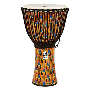 Toca Freestyle Kente Cloth Rope Tuned Djembe by Toca