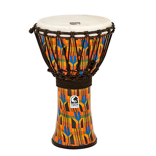 Toca Freestyle Kente Cloth Rope Tuned Djembe-thumbnail