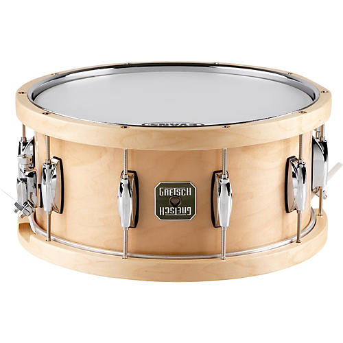 Gretsch Drums Full Range Maple Snare Drum with Wood/Metal Batter Hoop Gloss Natural 6.5x14