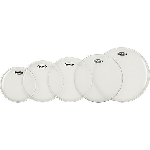 Evans G Plus Clear 4-Piece Standard Drumhead Set with Free 14