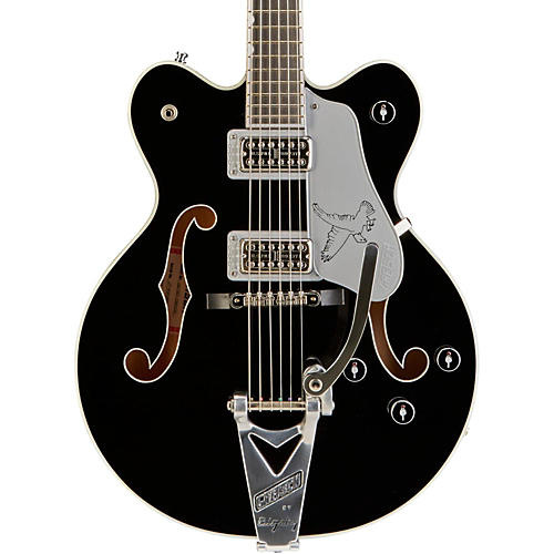 Gretsch Guitars G6139T-CBDCSL Silver Falcon Center Block Double Cutaway with Bigsby Tremolo Black with Silver Sparkle Binding
