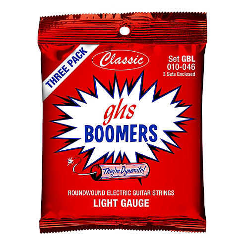 GHS GBL Boomer 3-Pack Classic Electric 10-46 Electric Guitar Strings Blue