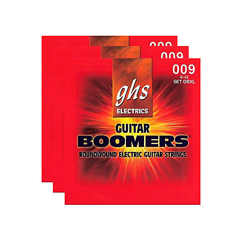 GHS GBXL Boomer 3-Pack Electric Guitar Strings Black