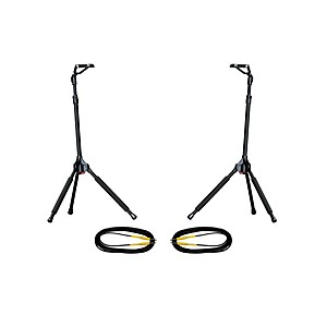 Ultimate Support GS-100 Genesis Single Guitar Stand 2 Pack w/Free Cables