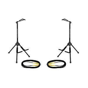Ultimate Support GS-200 Genesis Single Guitar Stand 2 Pack w/Free Cables