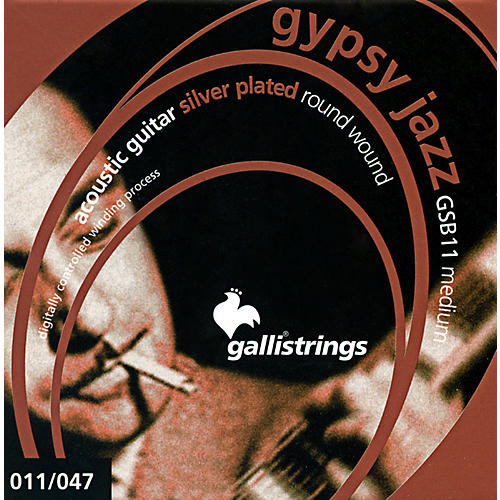 Galli Strings GSB11 GYPSY JAZZ Silver Plated Round Wound Medium Acoustic Guitar Strings-thumbnail
