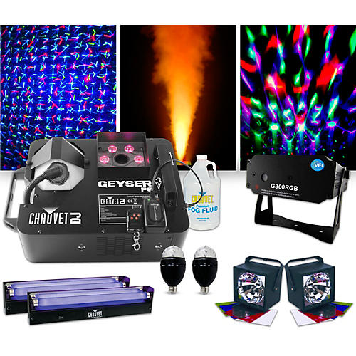 CHAUVET DJ Geyser P6 Fog Machine with VEI 300RGB Laser, Blacklights, Party Bulbs and Strobes Lighting Package