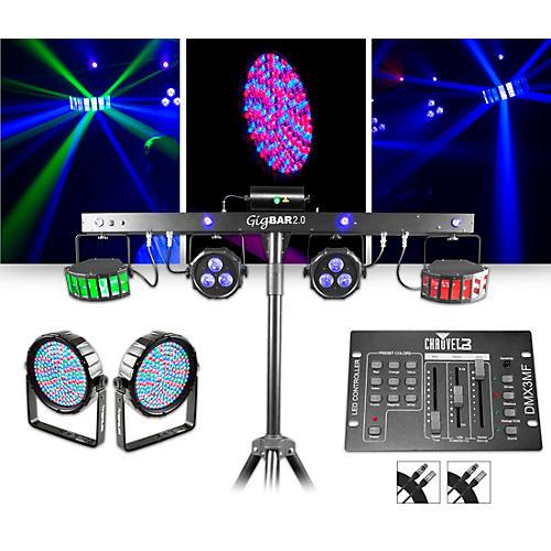 CHAUVET DJ GigBAR 2 w/ Thinpar64 10mm Pair and DMX3MF Controller Lighting Package
