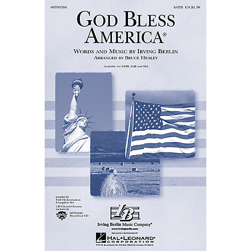 Hal Leonard God Bless America (Festival Edition w/Vocal Solo and opt. Narrator) ShowTrax CD Arranged by Bruce Healey