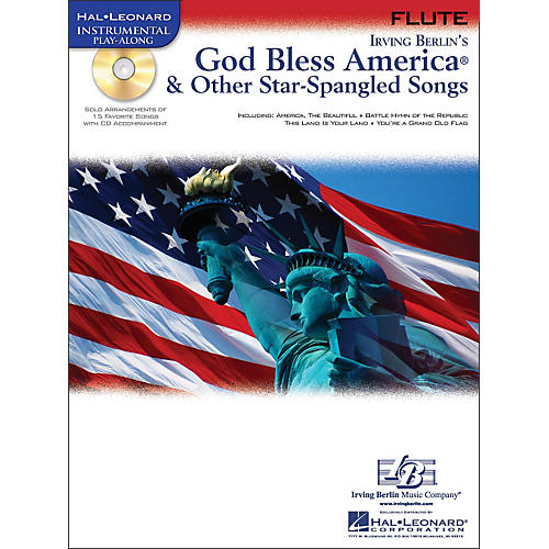 Hal Leonard God Bless America & Other Star-Spangled Songs for Flute instrumental Play-Along Book/CD-thumbnail