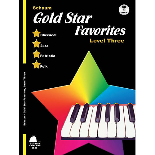 SCHAUM Gold Star Favorites (Level Three) Educational Piano Book with CD (Level Early Inter)