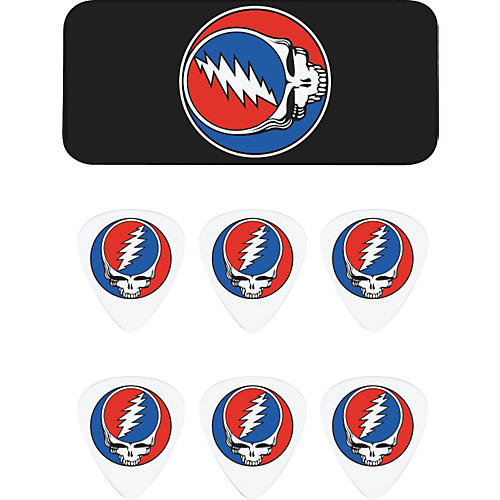 Dunlop Grateful Dead Steal Your Face Black Pick Tin with 6 Picks-thumbnail