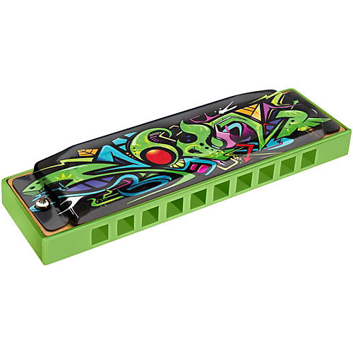 Hohner Green Dragon Tagged Harmonica Key of C-thumbnail