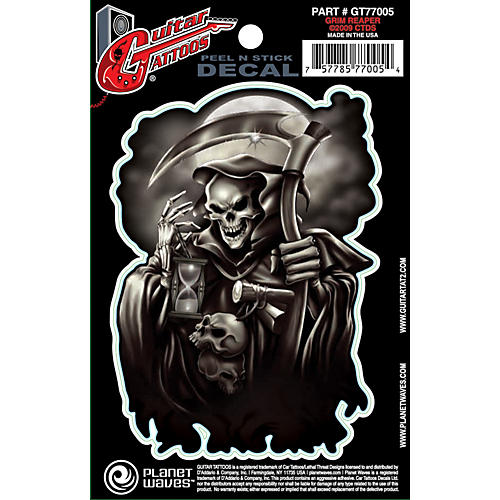 D'Addario Planet Waves Guitar Tattoo Decal Grim Reaper