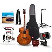 Luna Guitars Gypsy Spalt Grand Auditorium Acoustic-Electric Guitar Bundle