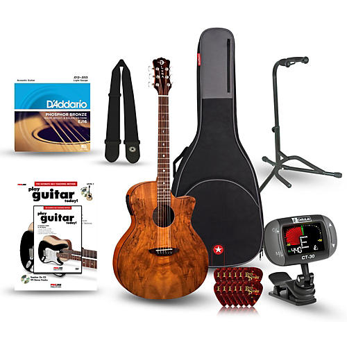 Luna Guitars Gypsy Spalt Grand Auditorium Acoustic-Electric Guitar Bundle-thumbnail