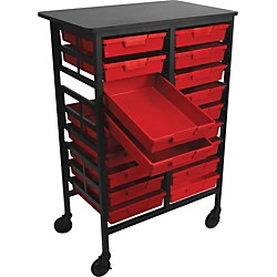H. Wilson Mobile Work Center with 18 Single Storage Trays (CT122S18-Red)