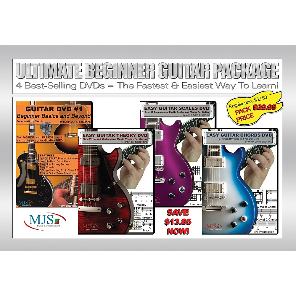 Mjs Music Publications Ultimate Beginner Guitar 4 Dvd Package 1287594235712
