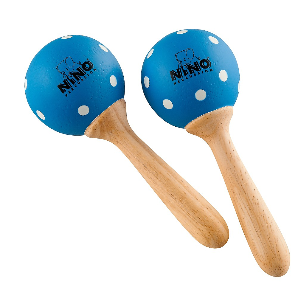 Nino Wood Maracas Blue/White Polka Dots Small 1363617290770