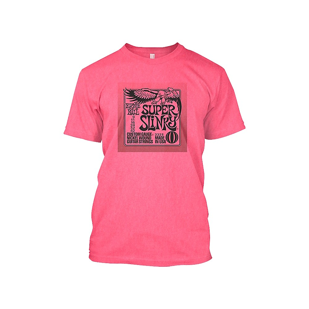 Ernie Ball Super Slinky T-Shirt Neon Pink Extra Large 1370873714848