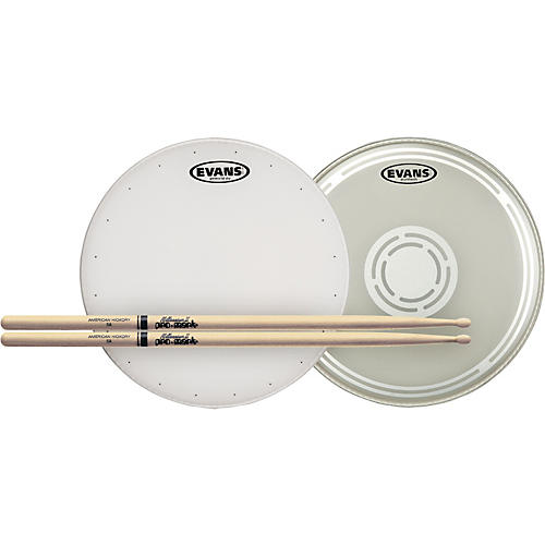 Evans HD Dry Snare Batter and Snare Side Head Pack with Free Pair of Pro-Mark Sticks Wood 5A