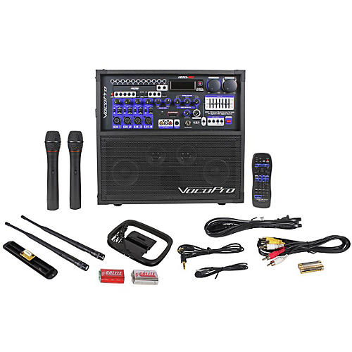 VocoPro HERO-REC VHF Multi-Format Portable P.A. Karaoke System w/ Digital Recorder & VHF Wireless System-thumbnail