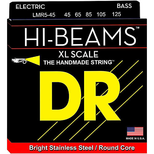 DR Strings HI-BEAM Stainless Steel 5-String Bass Strings X-Long Scale (45-65-85-105-125)-thumbnail