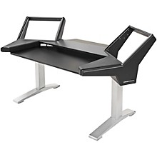 Argosy Halo Keyboard Desk w/Black End Panels and Silver Legs