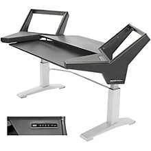 Argosy Halo Keyboard Height Ajdustable Keyboard Desk w/Black End Panels and Silver Legs