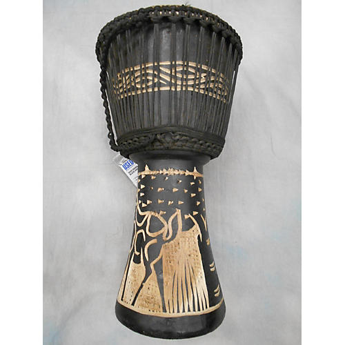 Ghana Handmade Black Giraffe Djembe-thumbnail