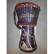 Ghana Handmade Purple Elephant Djembe