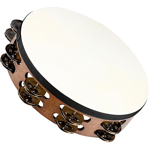 Meinl Headed Wood Tambourine with Double Row Steel Jingles 10 in. Walnut Brown