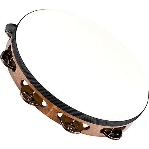 Meinl Headed Wood Tambourine with Single Row Steel Jingles-thumbnail