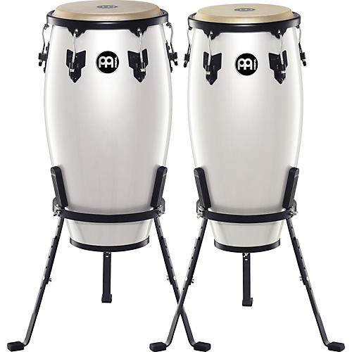 Meinl Headliner Series 11 and 12 Inch Wood Conga Set with Basket Stands Pearl White