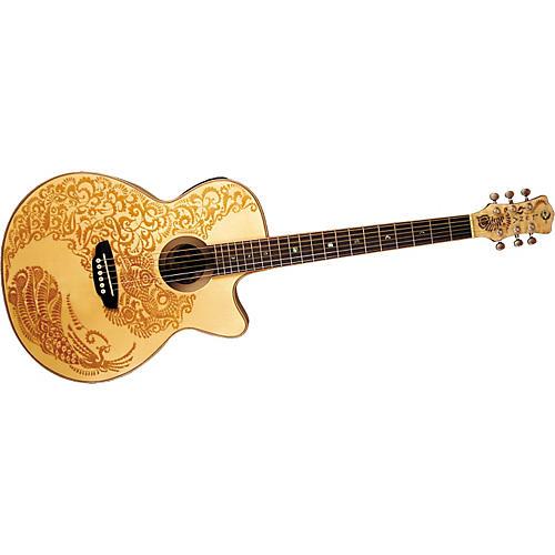 Luna Guitars Henna Paradise S Folk Style Cutaway Acoustic-Electric Guitar