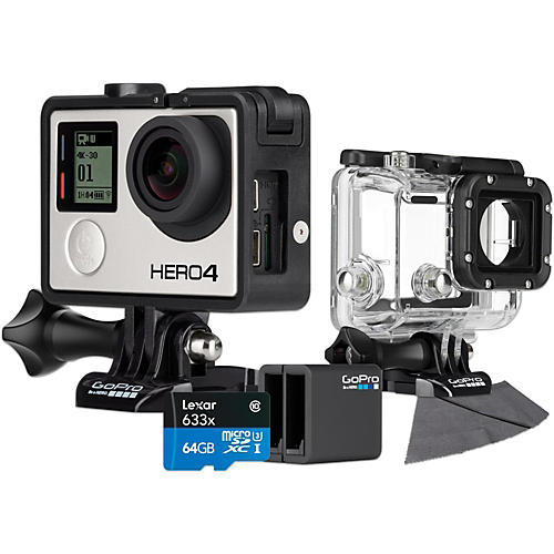 GoPro Hero4 Black Music Edition with 64GB SD Card, Dive Housing and Charger Bundle-thumbnail
