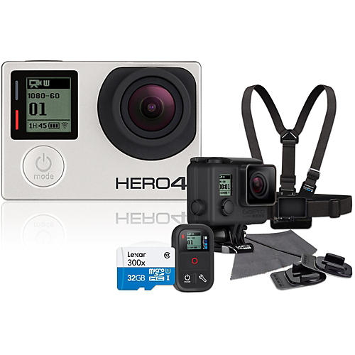 GoPro Hero4 Silver Music Edition Drummer's Pack with 32GB SD Card Bundle
