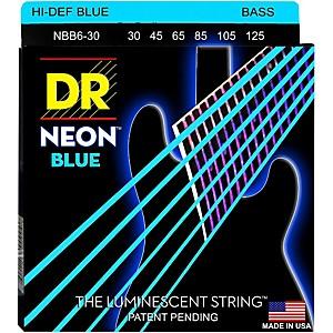 DR Strings Hi-Def NEON Blue Coated 6 String Bass Strings Medium 30-125 by DR Strings