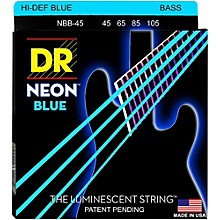 DR Strings Hi-Def NEON Blue Coated Medium 4-String (45-105) Bass Guitar Strings