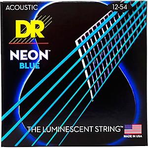 DR Strings Hi-Def NEON Blue Coated Medium Acoustic Guitar Strings 12-54 by DR Strings