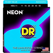 DR Strings Hi-Def NEON Blue Coated Medium-Lite Acoustic Guitar Strings (11-50)