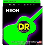 DR Strings Hi-Def NEON Green Coated Acoustic Guitar Strings Lite (10-48)