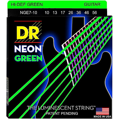DR Strings Hi-Def NEON Green Coated Medium 7-String Electric Guitar Strings (10-56)-thumbnail