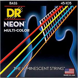 DR Strings Hi-Def NEON Multi-Color Coated Medium 4 String Bass Strings by DR Strings