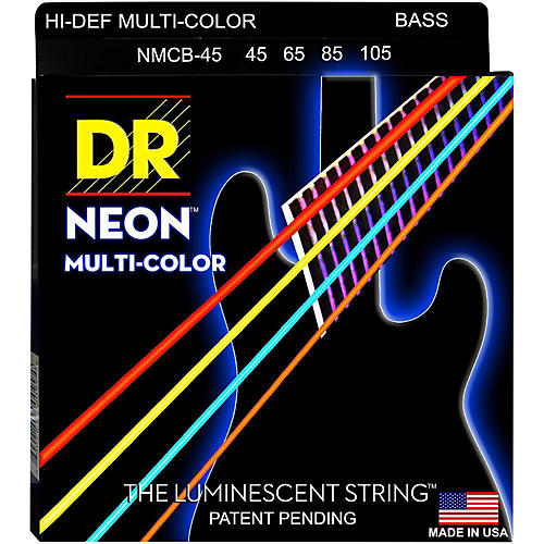 DR Strings Hi-Def NEON Multi-Color Coated Medium 4-String Bass Strings-thumbnail