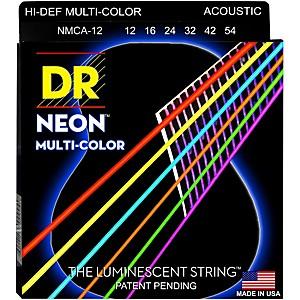 DR Strings Hi-Def NEON Multi-Color Coated Medium Acoustic Guitar Strings by DR Strings