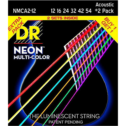 DR Strings Hi-Def NEON Multi-Color Medium Acoustic Guitar Strings (12-54) 2 Pack